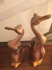 Vintage Wood Standing Duck Hand Painted Carved Folk Art