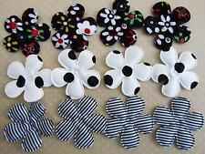 60 Black Dots/Floral/Stripe Design Fabric Flower Applique/sewing/trim/Craf t H255