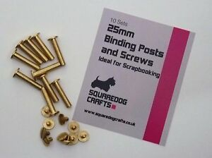 25mm BRASS BINDING POSTS AND SCREWS 10 PK - IDEAL FOR BINDING AND SCRAPBOOKING