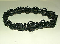BLACK VICTORIAN STYLE ACRYLIC BEADED LACE CHOKER Elasticated