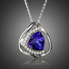 Made With Swarovski Crystal Sparkly Clear White & Blue Necklace Pendant Jewelry