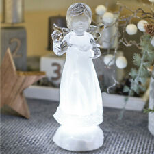 LED Angel, Ice Blue Luminous LED Angel with a Bible in the Hand, H23cm