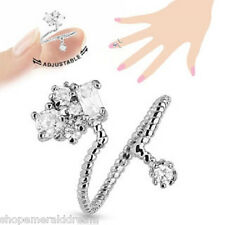 TJS Cluster CZ Midi Ring Adjustable Rhodium Plated Brass Toe Finger Knuckle Wrap