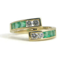 Green Emerald and Diamond Wrap Ring in 18K Yellow Gold, 1.18 CTW, 5.34 Grams