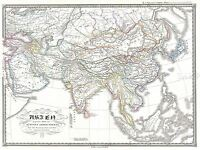 GEOGRAPHY MAP ILLUSTRATED OLD SPRUNER ASIA 5TH CENTURY SASSANID PRINT BB4479A