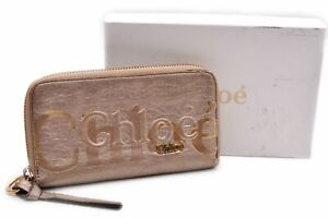 Authentic Chloe Wallet Leather Gold Box 92260