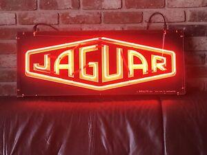 Vintage Jaguar neon illuminated dealer sign brillite garage workshop