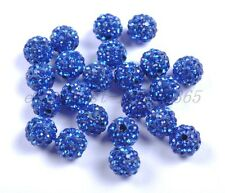 10pcs Sapphire Czech Crystal Rhinestones Pave Clay Round Ball Spacer Beads 10MM