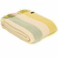 TWEEDMILL TEXTILES 100% Wool Sofa Bed Blanket Rug RAINBOW SUMMER STRIPE THROW