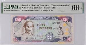 Jamaica 50 Dollars 2012 P 89 COMM. GEM UNC PMG 66 EPQ HIGH
