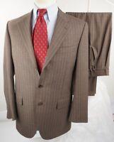 $2,499 BELVEST Brown Striped Super 120's Suit Surgeons Cuffs US 40R Pants 34 /29