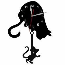Creative Cat Mouse Pendulum Clock Modern Game Art Wall Living Room Decor Clocks