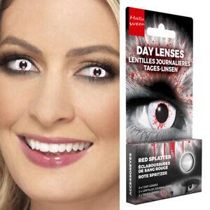 Halloween Zombie Effektlinsen Farbige Kontaktlinsen mit Blutspritzern Weiß-Rot