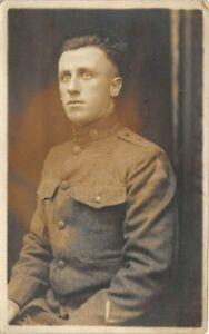 WWI c1918 RPPC Real Photo Postcard Army Engineer Soldier Uniform