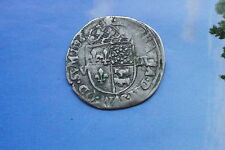 HENRI IV  RARE 1/8 ECU NAVARRE BEARN 1596 double frappe date