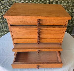 "Vintage Custom Made Solid Oak Dental Cabinet with 13 Drawers,18""Wx12""Dx16""H, VG"