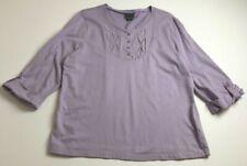 Covington Women's ¾ Sleeve Blouse Top XL Light Purple Crewneck Pullover Casual