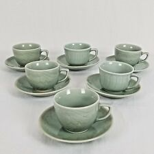 Celadon Tea cups with Saucers Koi Fish Brushworks Set of 6