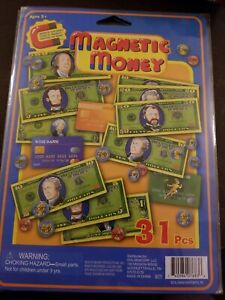 31Piece Magnetic Play Money Includes Dollar Bills, Coins, And Credit Cards