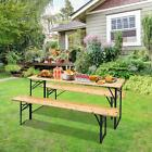 3 Piece Outdoor Wood Picnic Table Beer Bench Dining Set Folding Wooden Top Patio