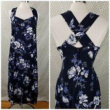 Vintage 90s Dress Plus size 22/24 2X 3X Floral Maxi Long summer Cross back
