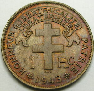 CAMEROON 1 Franc 1943 - Bronze - VF/XF - 2087 ¤