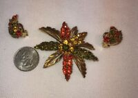 Vtg LARGE Flower RED GREEN AMBER GLASS Rhinestone Pin Brooch Clip Earrings Set