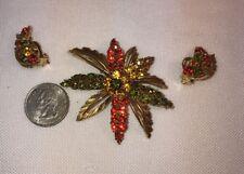 Vtg LARGE Flower RED GREEN AMBER GLASS Rhinestone Pin Brooch Clip Earrings Set