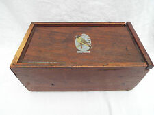 Vintage Wooden Box Rustic Black headed Siskin Jewellery Keys Trinkets C1940's