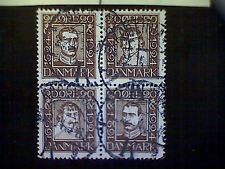 Stamps, used, Denmark, Scott 175a, block of four