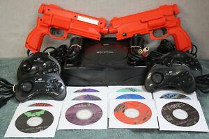 SEGA SATURN CONSOLE BUNDLE W/10 GAMES 4 CONTROLLERS & 2 GUNS (VERY NICE)
