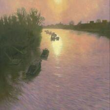 "Mark harrison original huile sur toile ""Winter Sun anguille tarte Island"" London peinture"