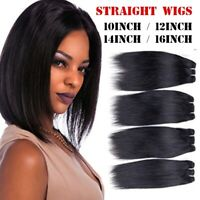 Real Remy Human Hair Wigs Brazilian Short Straight Black Wig 8/10/12/14/16 Inch