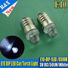 5X E10 Led Flashlight Replacement Bulb Torches Dashboard Lamp Light  White DC 3V