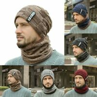 US Winter Mens Beanie Baggy Warm Wool Fleece Ski Cap Hat + Scarf Neckerchief Set