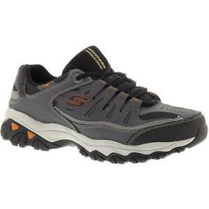 Skechers Mens Afterburn Gray Fashion Sneakers 12 Extra Wide (E+, WW) BHFO 9384