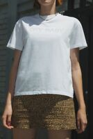 brandy melville white oversize cotton crewneck studded Marina cry baby top NWT M