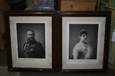 1 Paar Portraits, Königspaar von Württemberg, Wilhelm II und Charlotte, um 1890