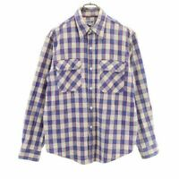 Used Sugar Cane Plaid Long Sleeve Shirt Blue System Work Toyo Enterprise Mens