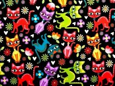 FAT QUARTER FABRIC  CATS KITTY KITTENS COLORFUL CAT  FUN NOVELTY MATERIAL COTTON