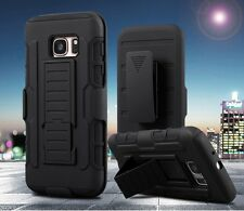 Galaxy S7 Case Black Shock Proof Belt Clip Armor Cover Stand