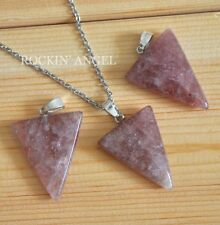 Natural Strawberry Quartz Triangle Pendant Necklace Reiki Healing Ladies Gift