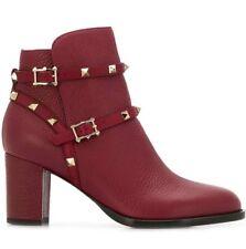 NB Valentino Rockstud City 70mm Rubino Red Leather Stud Block Heel Ankle Boot 35