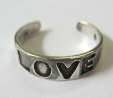 "Sterling Silver Adjustable Toe Ring ""Love"" Sign Solid 925 Oxidized Jewelry"