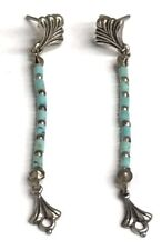 Carolyn Pollack  Vintage Oxidized Sterling Silver Turquoise Beaded Drop Earrings