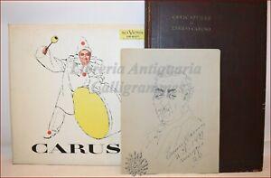 Musica ENRICO CARUSO Caricatures Disegno Autografo Libro Sisca + Dischi Omaggio