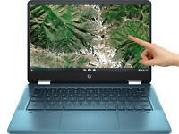 """NEW HP Chromebook x360 14"""" HD Touch Intel Celeron N4020 4GB RAM 64GB eMMC Teal"""