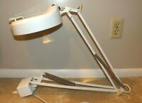 Vintage Industrial White Magnifier Articulating Spring Arm Work Hobby Table Lamp