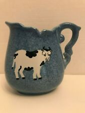 Black & White Cow on Blue Pitcher by Calico - Unique!