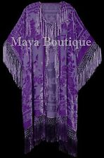 Lavender Kimono Duster Fringe Jacket Silk Burnout Velvet Maya Matazaro Plus